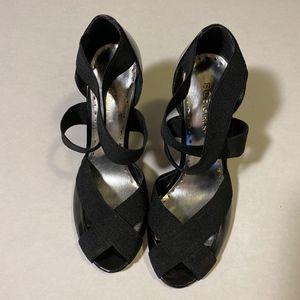 BCBGirls criss cross, w/ straps heels, size 7.5